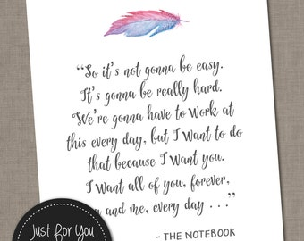 It's Not Going To Be Easy (The Notebook Movie) - Quote - Watercolor, Feather - YOU PRINT (Digital File) 8x10 Typography Poster Sign Wall Art