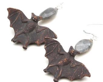 Bat and Labradorite Earrings - Animal Earrings with Sterling Silver - Magical Fall Earrings