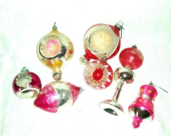 Pink Vintage Ornaments Shiny Brite Double Indents