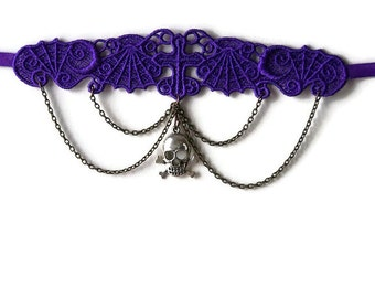 Purple Lace Goth Choker with Skull Charm & Chain Drapes
