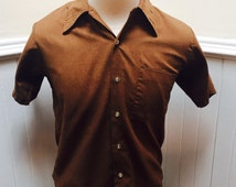 Vintage 1970s Brown Perma Pressed Short Sleeved Button Down Shirt- M