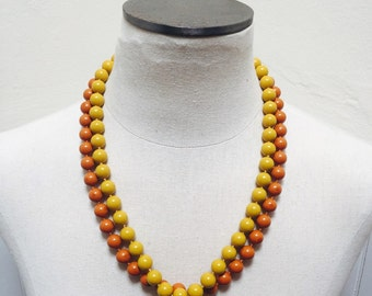 Vintage 1960s Beaded Necklace, Hidden Clasp- Orange and/or Gold