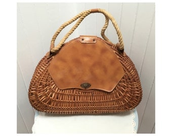 Vintage 1970s Wooden Woven Oversized Handbag/Farmer's Market Bag