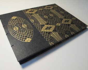 Small Black and Metallic Gold Art Deco Geometric Wedding Guest Book Instax Polaroid Photo Album