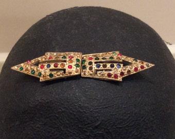 Vintage Multicolored Rhinestone Buckle,  Vintage Jewelry, Vintage Belt Buckle