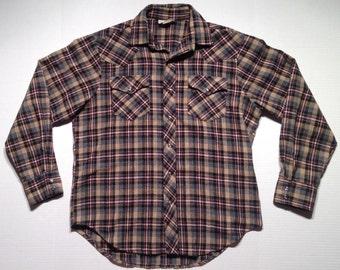 1970's wool blend western shirt, large