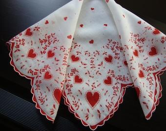 Valentine Hankie Vintage Hearts Handkerchief Valentine's Day Ladies Hankie