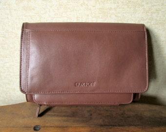 Leather Clutch Bag Organizer vintage 90s clutch purse unisex handbag cocoa brown large wallet men women travel case sections pockets