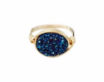 Blue Side Oval Druzy Statement Ring