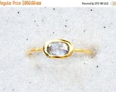 SALE Grey diamond snd solid 18k gold ring