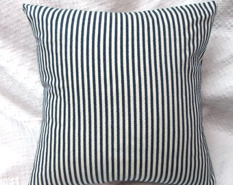 TICKING navy toss accent throw pillow with feather down insert