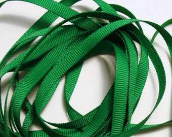 "1/4"" Grosgrain Ribbon -  Emerald Green - 10 yards"
