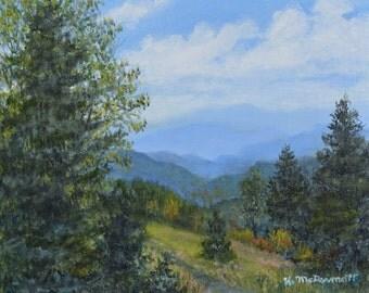 Smokey Mountain Overlook (C) 2016 by K. McDermott - UNFRAMED 8 X 10 oil on canvas