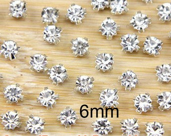 200 Pcs 6mm Sew on Glass Rhinestones.Glass Rhinestones