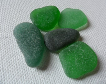 5 pretty green sea glass - Lovely English beach find shapes.
