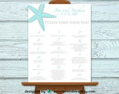 Starfish Seating Chart, Alphabetical Beach Wedding Sign Poster, Printable Custom File by Event Printables