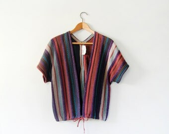 Vintage 70's Striped Wool Shawl Style Sweater Vest