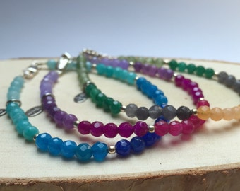 Multicoloured Jade Beaded Bracelet - Bridesmaid Gift - Birthday - Stacking - Sterling Silver