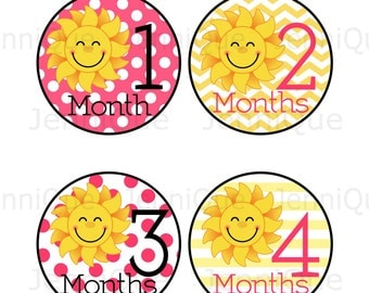 Printable Monthly Stickers, Baby Monthly Stickers, Baby Monthly Photo, Sunshine Theme Monthly Sticker