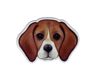 Beagle Dog Magnet / Dog Art / Pet Portrait / Refrigerator Magnet / Office Magnet / Party Favor / Small Gift
