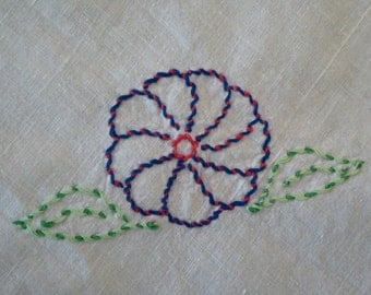 Small Pansy Tablecloth Simply Embroidered with Fringe Edges, Small White Table Cloth Country Flower
