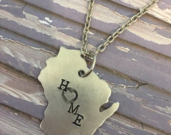 SALE Wisconsin Home Necklace