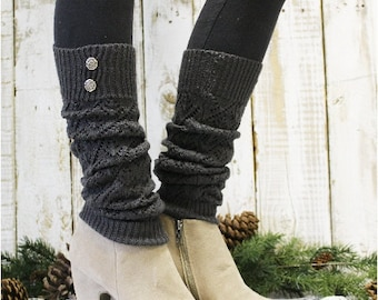 Charcoal Leg warmers pointelle knit legwarmers boots socks womens knit leg warmers buttons boots Catherine Cole Studio LW28