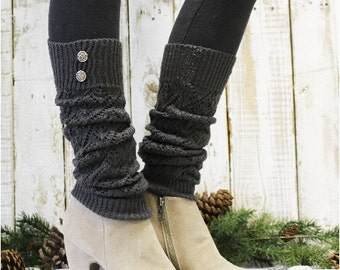 SIMPLY DIVINE Charcoal Leg warmers pointelle knit legwarmers boots socks womens knit leg warmers buttons boots Catherine Cole Studio LW28