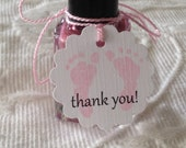 Thank You Footprint Tags - Nail Polish Tags - Baby Shower Favor Tags