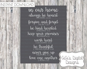 Scripture Based FAMILY RULES, In our home Rules, Wall Art, Bible Verse, Digital Print, Home Rules, Scripture Home Rules, Multiple Sizes