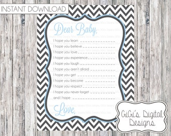 Baby shower game DEAR BABY instant download printable wishes for baby chevron gray light blue jpg jpeg PDF letter to baby games Mom to be