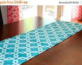 SALE Table Runner- Premier Prints Turquoise Gotcha Chainlink Home Decor- All Sizes- Weddings, Holidays, Events- Dinner Party- Table Topper