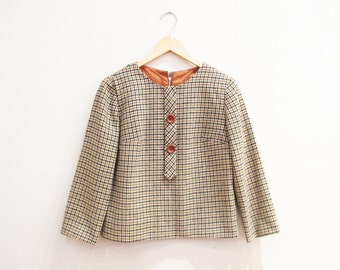 Vintage 1960s Blouse | Houndstooth Print 1960s Mod Blouse | size small