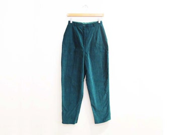 Vintage 1950s Pants | Jewel Toned Teal Green Cotton 1950s Corduroy Pants | size small