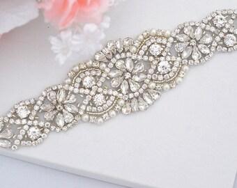 Wedding Belt, Bridal Belt, Sash Belt, Crystal Rhinestone & Off White Pearls