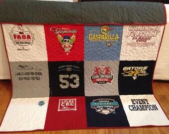 Male T-shirt Quilt Custom Made Memory quilt, teen DEPOSIT ONLY