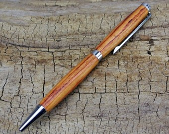 Wooden Pen - Tulipwood - Wood Carving - Slimline Twist Pen - Hand Carved Wood Pen