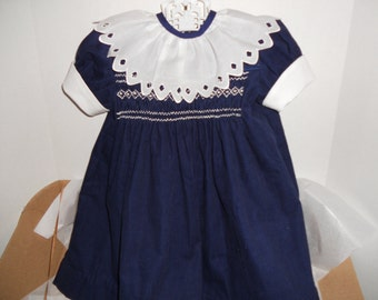 Size 12 Months, Smocked Navy Blue Corduroy Dress With an Elegant Ruffle Collar