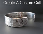 1/2 inch wide Custom & Personalized Silver Cuff Bracelet / Hand Stamped / Gifts for Her / 21, 30, 40, 50 Birthday Gifts / Graduation Gifts /