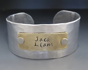 Silver and Gold Personalized Cuff Bracelet / Custom Children's Names Bracelet / Gifts for Mom / Anniversary Gift / Gifts for Her /