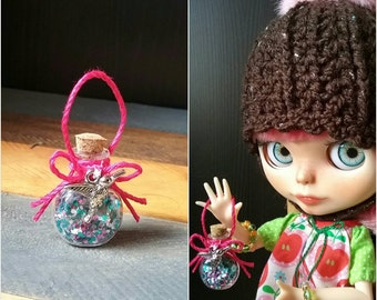 SALE...Magical Glass Jar of Pixie Dust for Blythe Dolls...Great prop for Blythe Fairies and Pixies