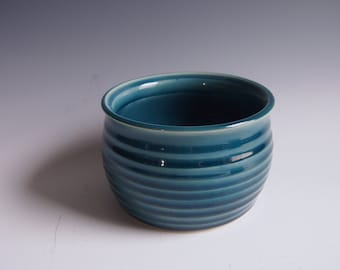 Wheel thrown ceramic ribbed jar- peacock blue