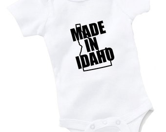 Made In Idaho Onesie Bodysuit Baby Shower Gift Funny Geek Nerd Cute Sports Football Basketball Baseball