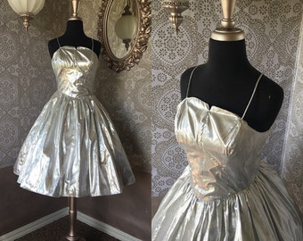 Vintage Silver Lame Cocktail Dress with Built in Crinoline XS