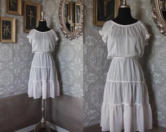 Vintage 1970's 80's White and Red Polka Dot Ruffled Dress Medium