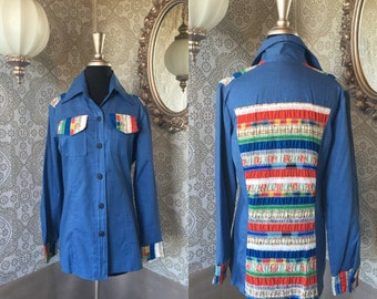 Unisex 1970's Blue Button Down Shirt with Patchwork Panels Large XL
