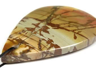Scenic Red Cherry Creek Jasper Large Teardrop Pendant - 53mm x 33mm x 6.3mm - B3882