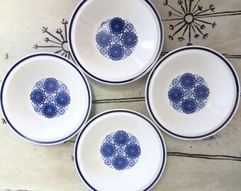 Vintage Blue Egersund Norway Korulen Bowl Scandinavian Design Modern Design Unni Margrethe Johnsen Modernist Dinnerware Cobalt Blue Dish