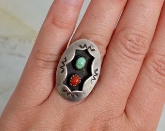 Navajo Shadowbox Turquoise and Coral Ring - Size 6.25