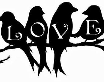 Love Birds Vinyl Wall Art